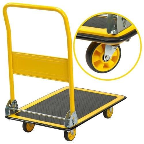 Garden Dump Cart Handcart Tilting Garden Wagon Yard 4 Tyres Dual Axle 350kg//125L